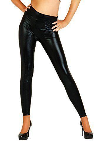 Futuro Fashion Brillant Sexy Latex Effet Mouillé Leggings Longueur Maxi Taille Haute Simili Cuir