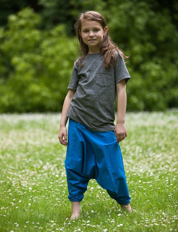 Harem trousers for kids. Blue cotton one size by SISSorganic