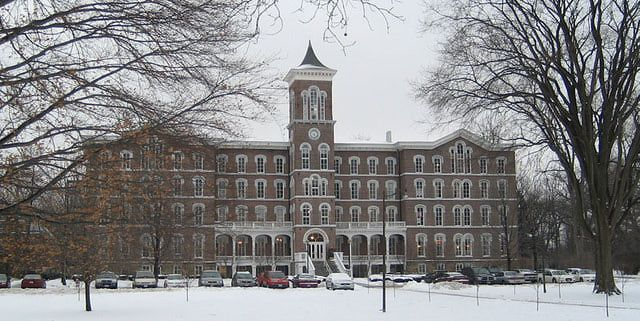 College Hall at Lake Erie College in Painesville The fourth floor (now unused) is said to be haunted by an unfortunate female student from the late 19th century. The story goes that she became romantically involved with one of her professors and became pregnant. When the teacher refused to marry her, she jumped to her death from the belltower atop College Hall.