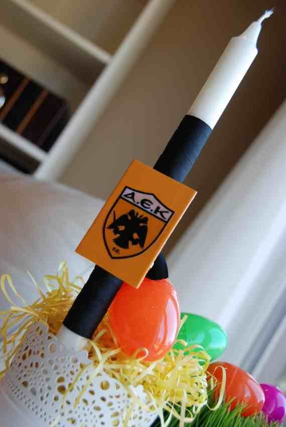 A.E.K. F.C. Easter Candle - $12.00 at Greek Wedding Shop ~ http://www.greekweddingshop.com