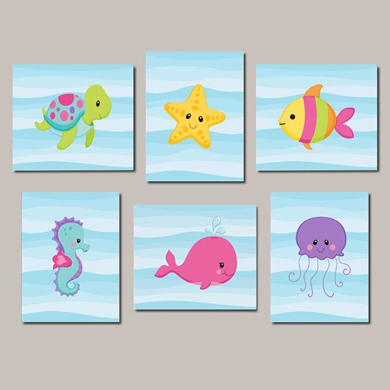 Girl Nursery Wall Art Sea Life Sea Animals Under The Sea Nursery Decor Sea Animals Bathroom Decor Set Of 6 Prints Or Canvas Nautical Art