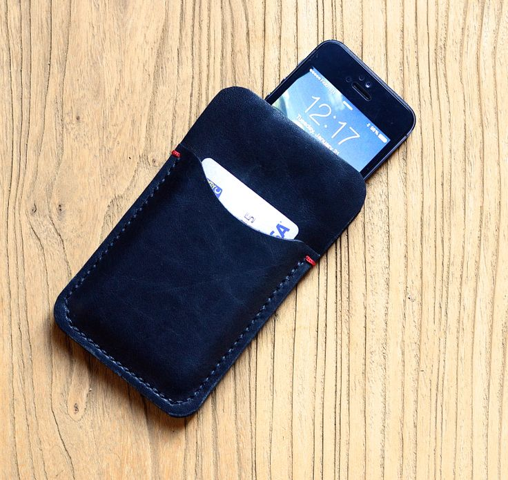 Hand Stitched Leather iPhone Case with Credit Card Holder