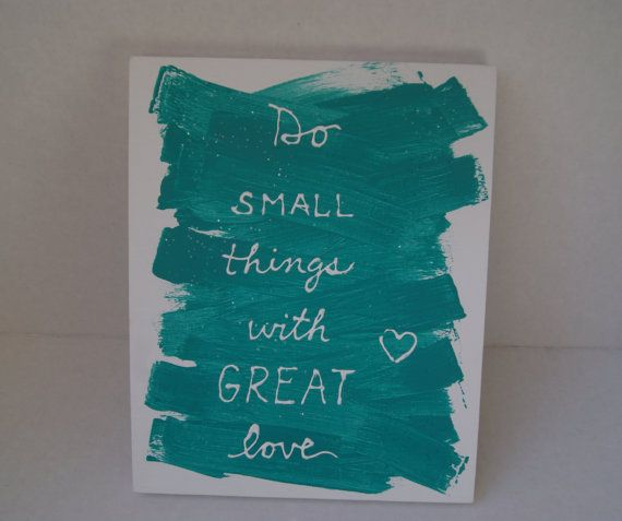 Teal wall painting 'Do small things with great love' by chramberries, $20.00