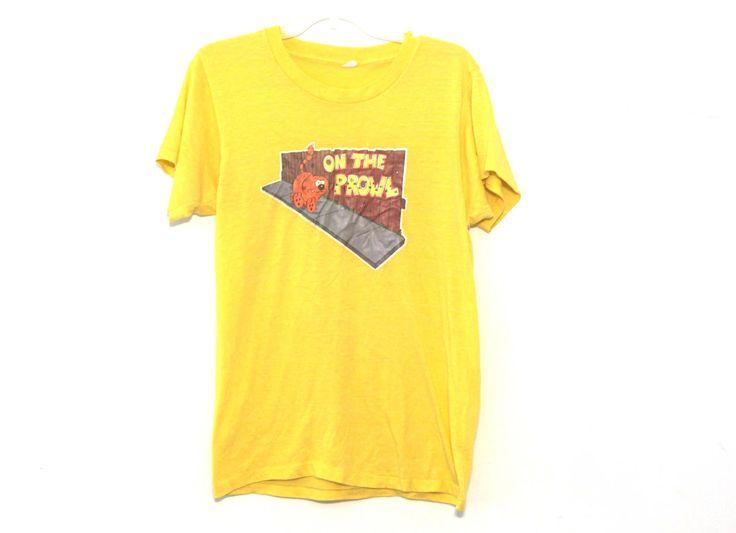 Vintage 80s tshirt Heathcliff cat cartoon iron on yellow by 216vintageModern on Etsy