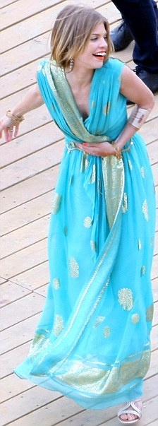 Love the sari-dress. in turquoise and silver