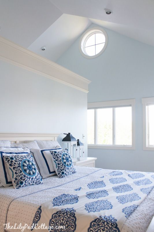 Pretty and calming light blue paint color, love this for the master bedroom.