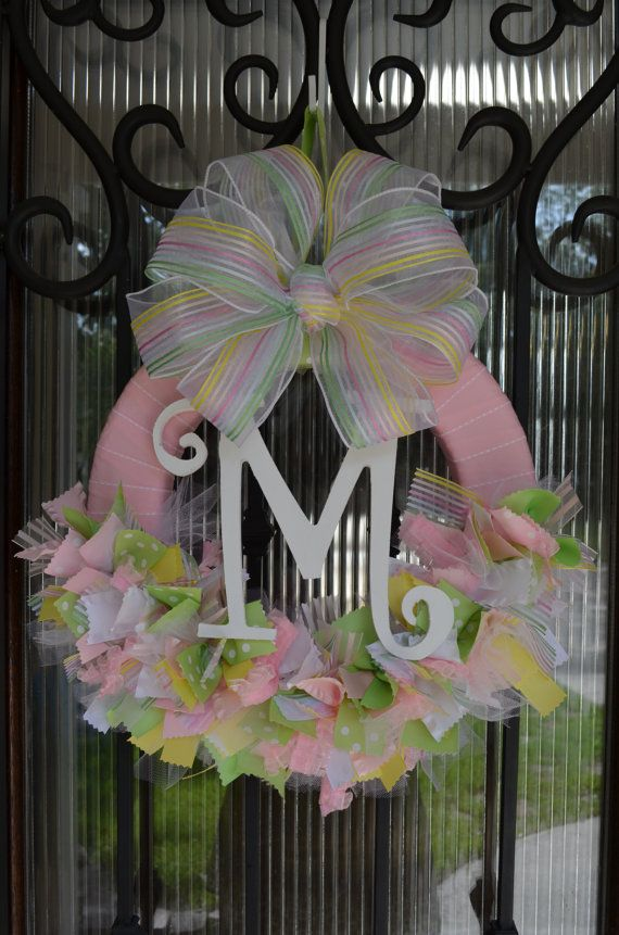 Baby Ribbon Wreath Nursery Hospital Door Baby Shower by JoowaBean, $60.00