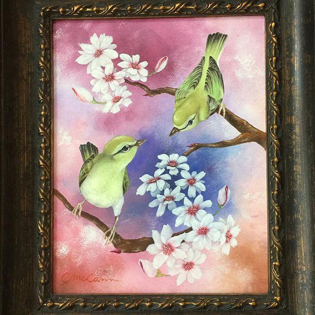 【chikako.do】さんのInstagramをピンしています。 《春をテーマに。その3 No.3 #artlovers #artwork #artlife #art #cherryblossom #warblers #sakura #mixedmedia #canvas #oilpainting #acrylic #9x12 #spring #nature #naturelove #鶯 #絵 #油絵 #アクリル #ミックスメディアアート #キャンバス #自然 #花 #鳥 #桜 #春 #連作》