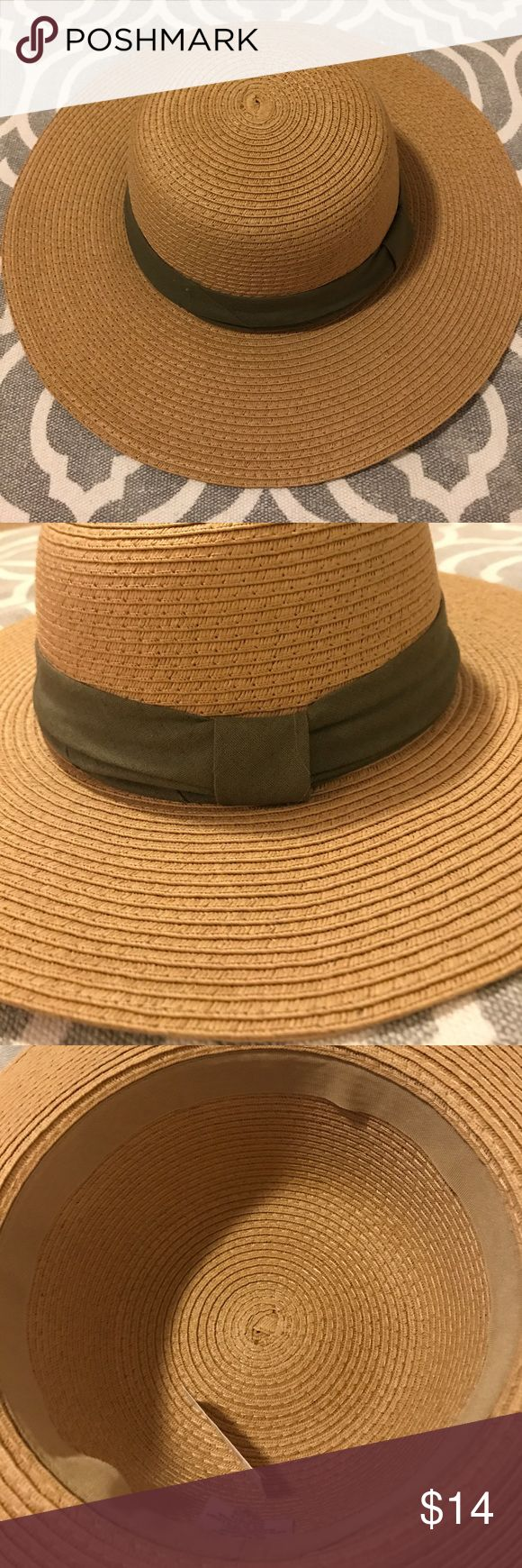 Summer Sun hat with olive green band NWT summer hat with olive green band. It has a ribbon sweat band inside. It is possible to put batting in it if you tend to have a smaller head. Charming Charlie Accessories Hats