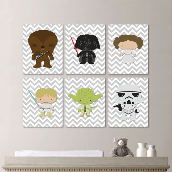 *** You Pick the Size! *** Please select upon check out!    This six-print set includes the Star Wars characters: Chewbacca, Darth Vader,