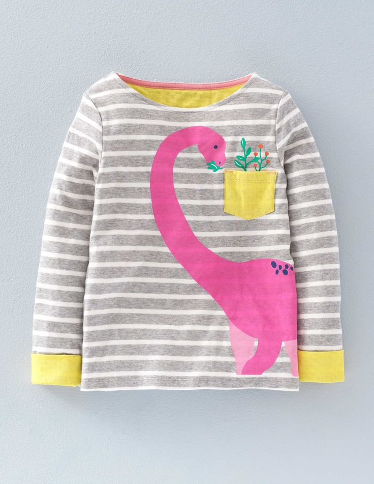 Cosy Dinosaur T-shirt (Grey Marl Stripe Dinosaur)