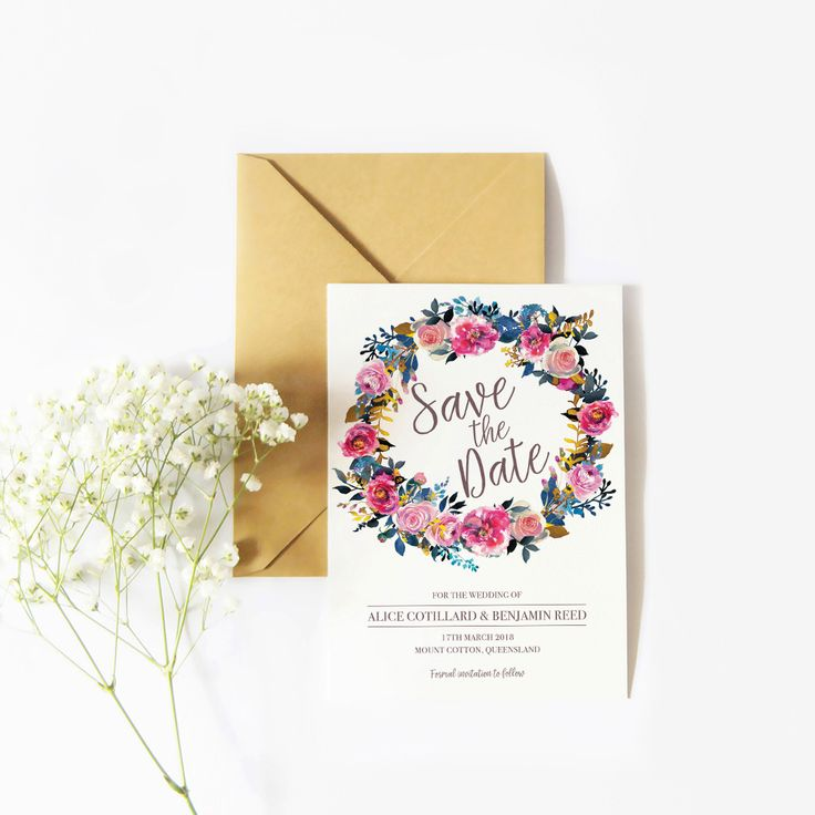 Save the Date with a floral theme #savethedate #australia #whimsicaldesign #blues #wreath #florals #weddings #thehellobureau