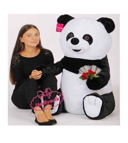Peluş Oyuncak Panda Gül Buketli 100 Cm Büyük Boy