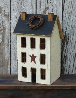 how to make primitive crafts | Lighted Country Houses and Primitive Saltbox Houses