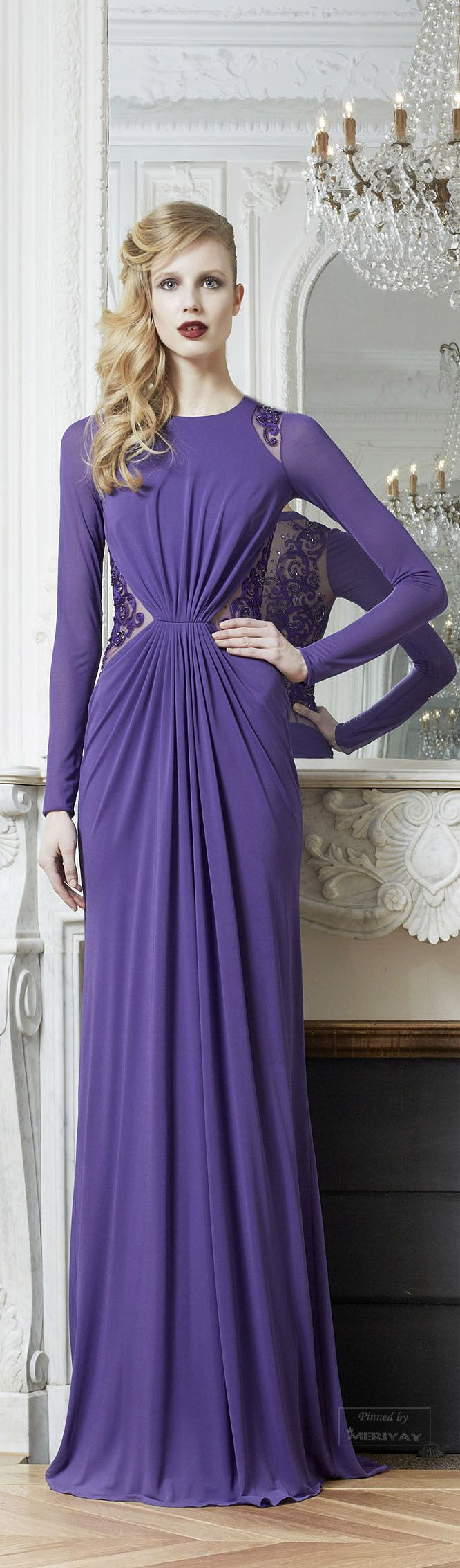 Light purple long lace dress