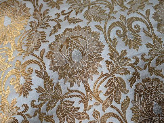 Silk Brocade Fabric in Cream Gold Weaving Banaras Brocade