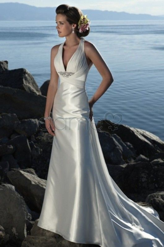 Ivory Halter Beaded Chiffon Satin Sheath Beach Destination Wedding Dress Slim Line Gown With Zipper And Self Covered Button Closure