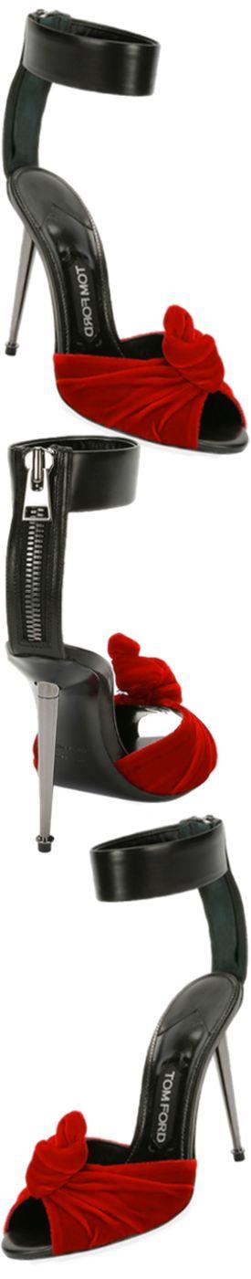 TOM FORD Velvet/Leather Knot Hardware-Heel Sandal.Black/Red