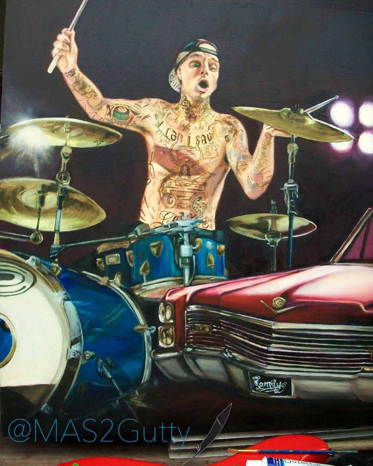 Down Rhythm Travis Barker  @travisbarker   Oil/Canvas    #art #artwork #arte #artist #artoftheday #instaart #draw #paint #color #music #drums #rock #blink182 #car #cadillac #cardesing #ride #drive #love #me #life #like #pictures #red #blue #instagood #amazing #style #tattoo #tattooartist  @blink182 @blink182memorabilia @blink182chile @blink182 @blink182crew @blink182italia  @fmscottbutton @famousstarsandstraps @transplants