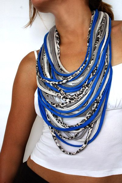 Cool idea! DIY cloth necklace just cut an old shirt into small strips and uneven langths! cute