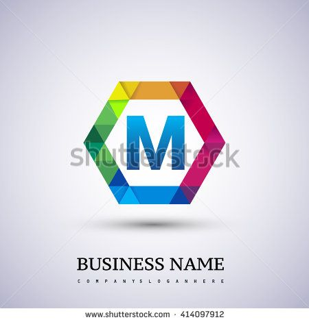 Colorful Letter M logo design in the hexagon. - stock vector