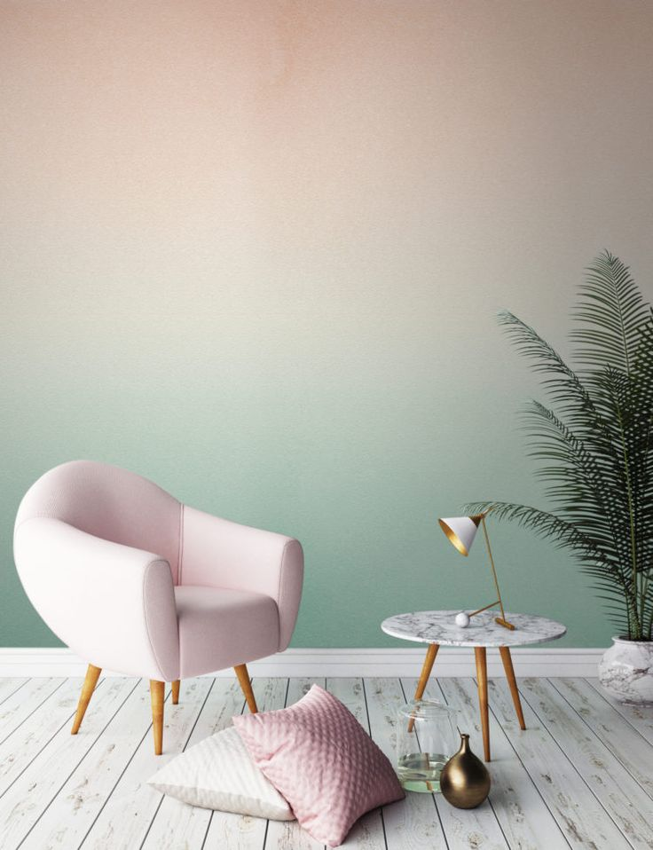peachy tones gently fade into a rejuvenating minty green in this stylish ombre wallpaper design giving a subtle yet impactful gradient that will make your - Wallpaper Design Ideas
