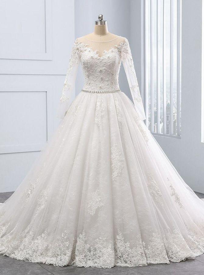 Luxury Princess Wedding Dress With Long Sleeves A Line Wedding Dress Lace Wedding Dresses Vinta Dubai Wedding Dress Wedding Dresses Lace Wedding Dress Vintage