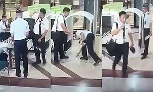 12/30/16 A pilot, identified as Capt. Tekad Purna, for Indonesian low-cost airline Citilink repeatedly dropped his belongings as he went through security at Surabaya airport on Wednesday morning.
