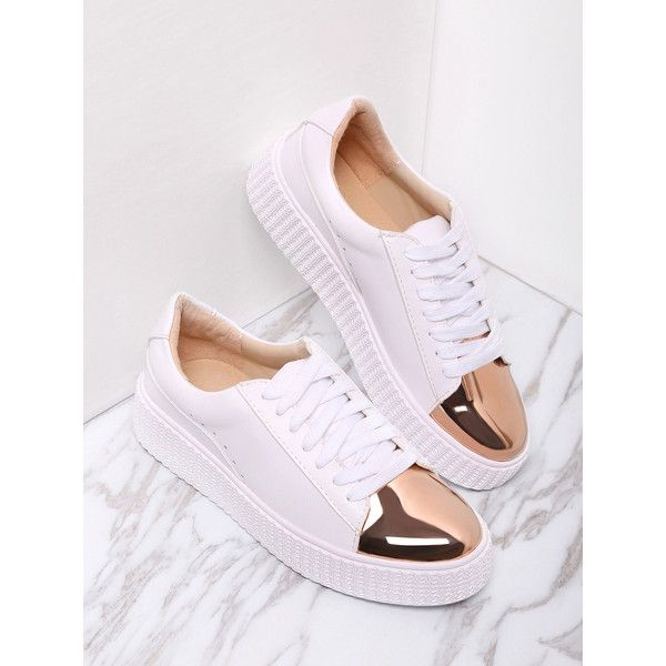 White Contrast Round Toe lace up sneakers, white lace up shoes,and golden shoes
