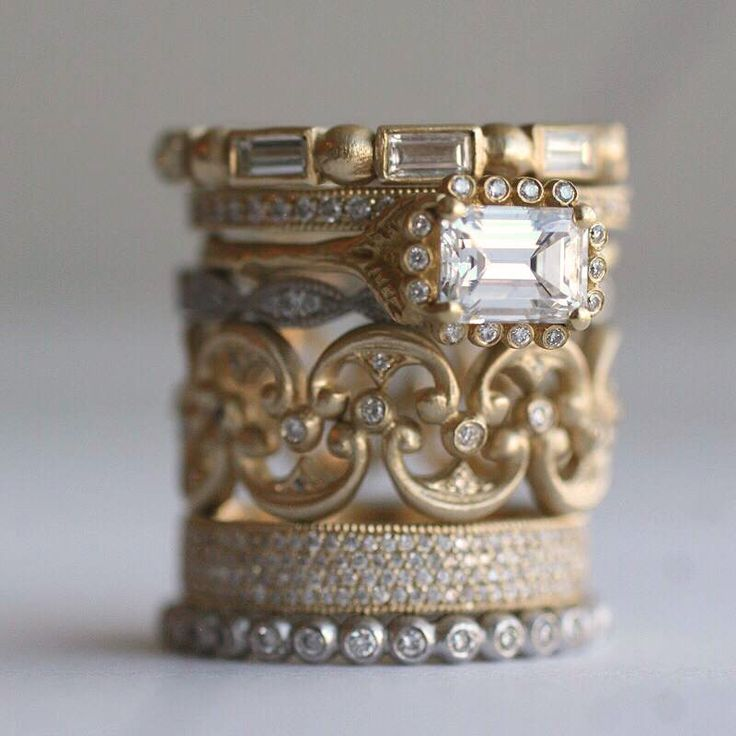 I love a good stack, so much so that when we were designing my wedding bands (yes, bands plural) I had a band made in white gold, yellow gold, rose gold and platinum. Granted my bands were only a millimeter wide (teeny, tiny), but I do love them! I was talking to my friend, jewelry …