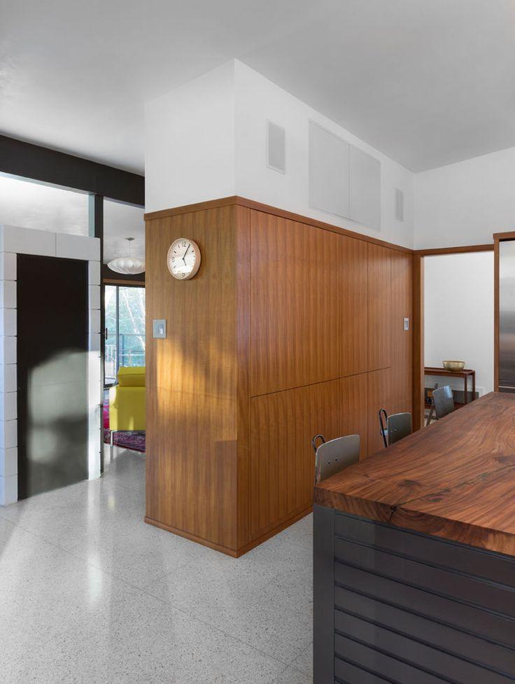 Teak veneer cabinets and reclaimed American elm countertop