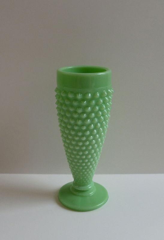 Jadite Jadeite Green Milk Hobnail Pressed Glass Vase Ai Martha