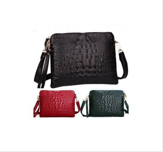 New Promotion 2015 Fashion Genuine Leather Crocodile Pattern Women Handbag Shoulder Bag Female Messenger Bag Ladies Day Clutch