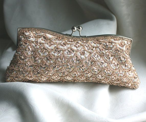 Bridal Clutch  hand beaded champagne satin with by WearableArtz, $69.00