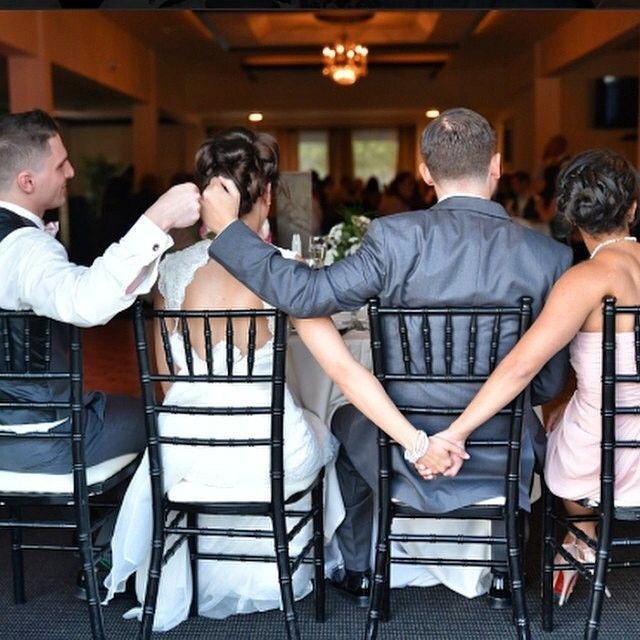 "Photo Credit: @inspiremenj ""This is such a cute photo idea, 'double tap' if you agree! Thank you @megan_nieds for sharing with us! @theknot ❤️ #nieddupartyof2 #Padgram  best friends: bride, groom, best man and maid of honor."""