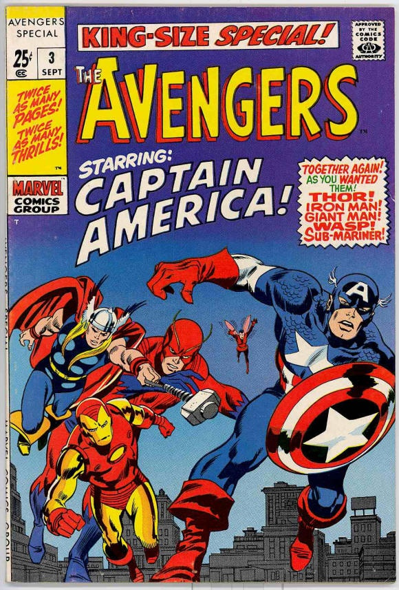 Chuck's Stuff has this 1969 Avengers King Size Special #3 Marvel comic for sale for $35. Very Fine/Near Mint 9.0, details on site. Reprints Avengers #4 (1st Silver Age Captain America), and Tales of Suspense #66, 67, 68, Cap vs. the Red Skull.