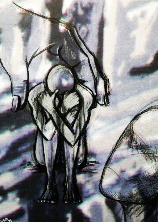 *Sin consuelo* Acrílico, tiza y lápiz. 20 x 28. Año 1999.