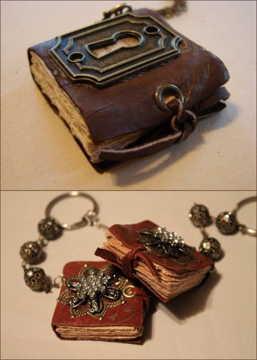 "DIY Mini Book Necklaces with Charms. I have posted 3 or 4 mini book jewelry tutorials and I keep saying, ""Oh, this is the best one."" But this is my favorite. Clear instructions, love the grommet closures tied with leather, love the keyhole. For the tutorial and other ideas go to Art by Wendy here. I got a GC to Michaels and will get a crop-a-dile using coupons of course."