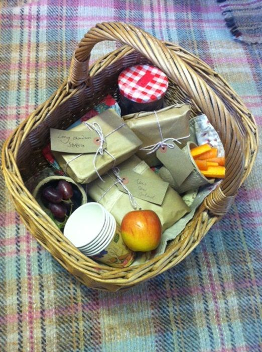 Picnic hamper wedding lunch