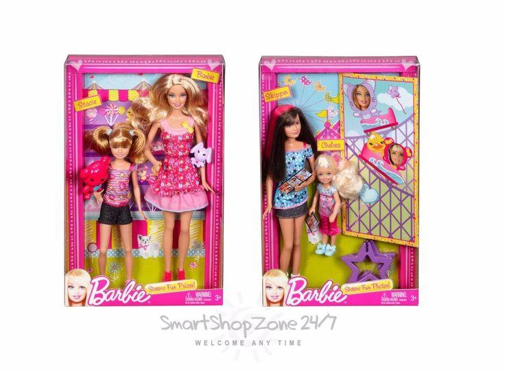 Barbie Doll Sisters Skipper, Chelsea, Stacie 4 pack Sister s Fan Playset NEW