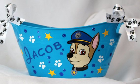 Chase Paw Patrol Basket Personalized Storage by ShopElainesCrafts