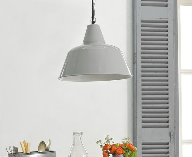 Our Workshop retro style pendant light is a lovely grey colour. This seriously cool light looks great over kitchen tables creating gorgeous lighting.