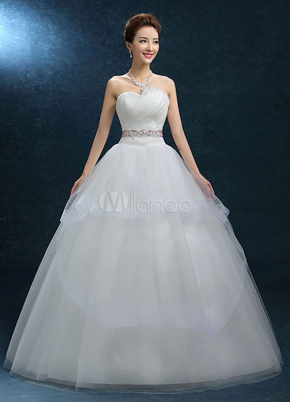 Princess Wedding Dress Ball Gown Strapless Organza Bridal Dress Sash Backless Floor Length Ivory Bridal Gown