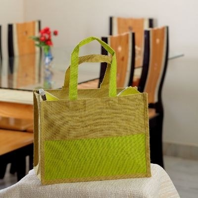 Ethnik Handcrafted Twin Color Bag of Recycled Jute #Jute Color Bag