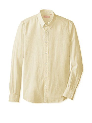 Velour Men's Oregon Button Down Shirt (Light Yellow/Off White ...