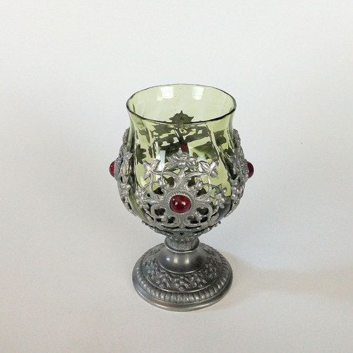 """DAVIDŮV POHÁR"" by cinarka  Handmade glass goblet from the green historical glass made from mould cast tin decorated by handmade installation of tin applique and manually crumpled ruby coloured glass rocks. http://www.cinarstvi.net/sklenka-daviduv-pohar-205.html"