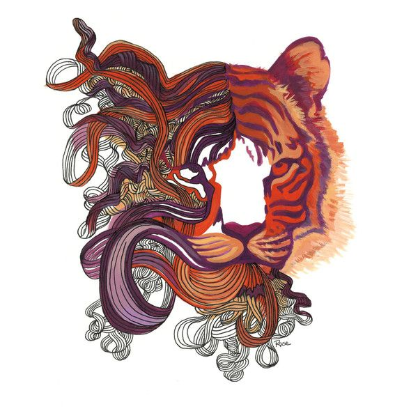 """Tiger Art Cat Painting Orange, Red Purple Tiger Print """"Tiger Dreams"""" ($25) ❤ liked on Polyvore featuring home, home decor, wall art, tiger wall art, orange home accessories, cat home accessories, cat wall art and tiger home decor"""