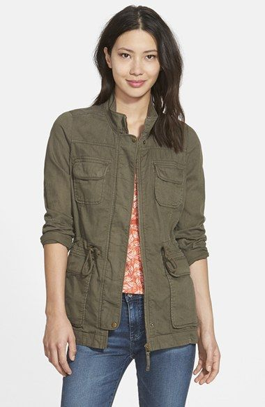 Free shipping and returns on Lucky Brand 'Core' Cotton & Linen Blend Military Jacket at Nordstrom.com. Lightweight khaki twill with a slightly worn look adds an air of authenticity to a field jacket fashioned with a toggled drawcord cinching the waist. Four flap pockets at the front further the utility styling.