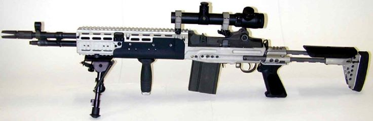 "Mk 14 Mod 0 EBR with a Harris bipod and RIS foregrip - 7.62x51mm NATO. This weapon is actually called Mark 14 Enhanced Battle Rifle. Even though the internal parts are from an M14, this weapon is only called M14 EBR in US Army service. This is a common mistake. It was developed for the US Navy SEALs, and thus it is type classified as a ""Mark"" weapons system by them."