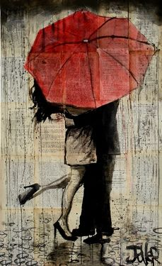 "Love this idea... pen and ink over vintage bookpages.  Wonderful artist.  Saatchi Online Artist Loui Jover; Drawing, ""the red umbrella"" #art"